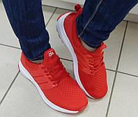 Кроссовки женские KLF, легкие,  в сетку, цвет: красный на белой подошве, материал: фабричный текстиль