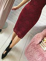 Красивая юбка из набивного гипюра с фистоном, цвета в ассортименте бордо