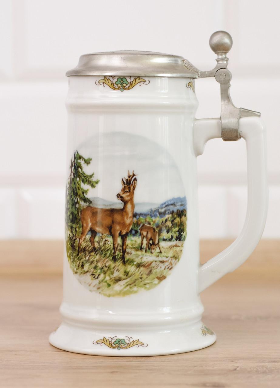 Коллекционная кружка, пивной бокал, керамика, оловянная крышка, Германия