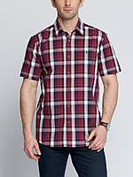 Мужская рубашка LC Waikiki с коротким рукавом гранатового цвета в белую и синюю полоску