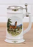Коллекционная кружка, пивной бокал, керамика, оловянная крышка, Германия, фото 5