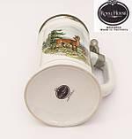 Коллекционная кружка, пивной бокал, керамика, оловянная крышка, Германия, фото 10