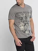 Мужская футболка LC Waikiki серого цвета с рисунком и надписью History of classical