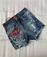 Модные подростковые джинсовые шорты для девочек с вышивкой