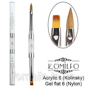 Кисть Komilfo Double Acrylic 6 (Kolinsky)/Gel flat 6 (Nylon)