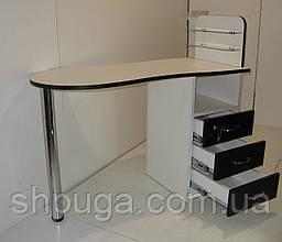 """Манікюрний стіл M101 скляними поличками під лак """"Естет №1"""" білий з чорними фасадами"""