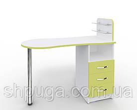 """Манікюрний стіл M101 скляними поличками під лак """"Естет №1"""" білий з зеленими фасадами"""