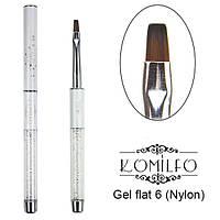 Кисть Komilfo Gel flat 6 (Nylon)