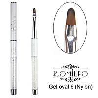 Кисть Komilfo Gel oval 6 (Nylon)