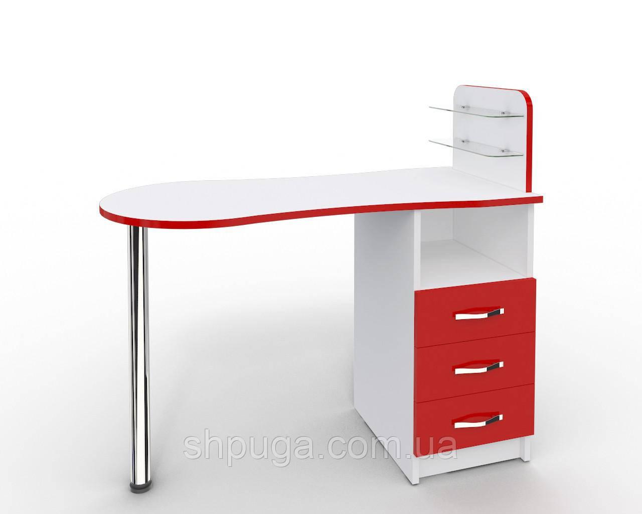 """Маникюрный стол M101 стеклянными полочками под лак """"Эстет №1"""" белый с красными фасадами"""