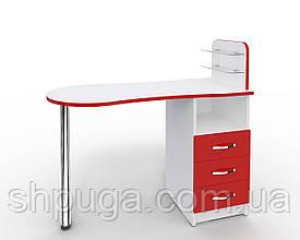 """Манікюрний стіл M101 скляними поличками під лак """"Естет №1"""" білий з червоними фасадами"""