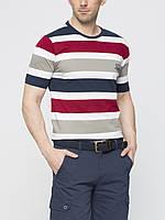 Мужская футболка LC Waikiki белого цвета в сине-серо-красные полоски