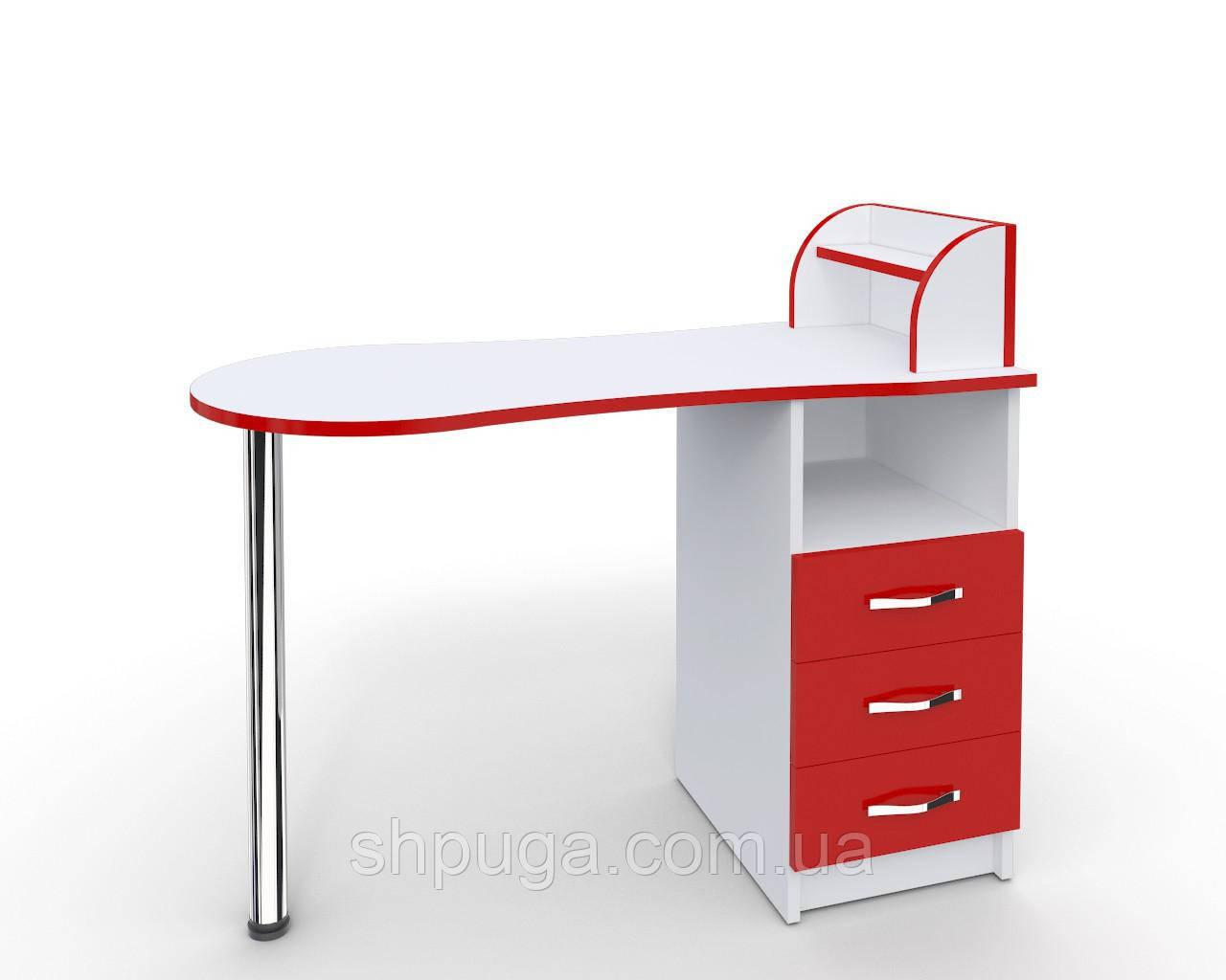 """Маникюрный стол-трансформер M103 """"Эстет компакт №3"""" белый с красными фасадами"""
