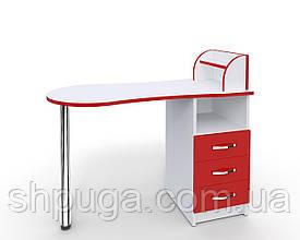 """Манікюрний стіл-трансформер M103 """"Естет компакт №3"""" білий з червоними фасадами"""