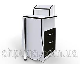 """Манікюрний стіл-трансформер M103 """"Естет компакт №3"""" білий з чорними фасадами"""