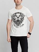 Мужская футболка LC Waikiki белого цвета с головой льва на груди