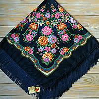 Женский платок с цветами (115х115см, синий, 80%-шерсть)