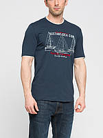 Мужская футболка LC Waikiki темно-серого цвета с надписью на груди Distant sea cup
