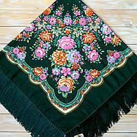 Красивый женский платок с цветами (115х115см, зелёный, 80%-шерсть), фото 1