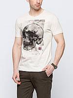 Мужская футболка LC Waikiki светло-бежевого цвета с черепом на груди