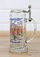 Кружка пивная, пивной бокал, стеко, оловянная крышка, Германия RASTAL