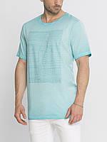 Мужская футболка LC Waikiki небесного цвета с рисунком на груди