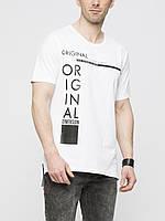 Мужская футболка LC Waikiki белого цвета с надписью на груди Original, фото 1
