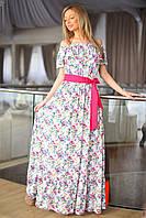 Сарафан приталенный в цветочный принт с ярким поясом в комплекте.