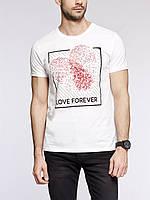 Мужская футболка LC Waikiki белого цвета с надписью Love forever