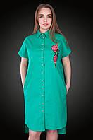 Платье - рубашка лен.  Цвет бирюза. Размер 58 . Код 578. Хмельницкий, фото 1