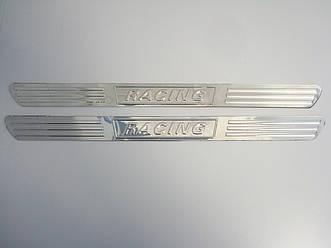 Универсальные хромированные накладки на пороги J 56 Racing