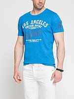 Мужская футболка LC Waikiki небесного цвета с надписью Los Angeles