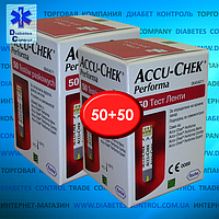 Тест-полоски для глюкометра Accu-Chek Performa / Акку-Чек Перформа 50+50 шт.