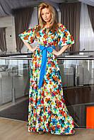 Шикарный сарафан в пол со спущенными плечиками, рукав-фонарик. Платья с ярким поясом в тон платья.