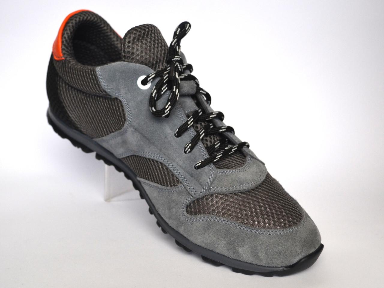 Большой размер кроссовки сникерсы мужские в сеточку с кожаными вставками Rosso Avangard BS Riddo Grey серые