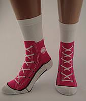 Носки женские разноцветные хлопок белые с малиновым принтом кеды  Ж-900015