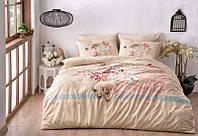 Двуспальное евро постельное белье TAC Lenora Brown Ранфорс