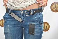 Женские джинсы с косыми карманами зауженные с потертостями Collibri 9168-532
