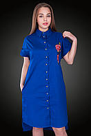 Платье - рубашка лен.  Цвет электрик. Размер  54, . Код 578. Хмельницкий