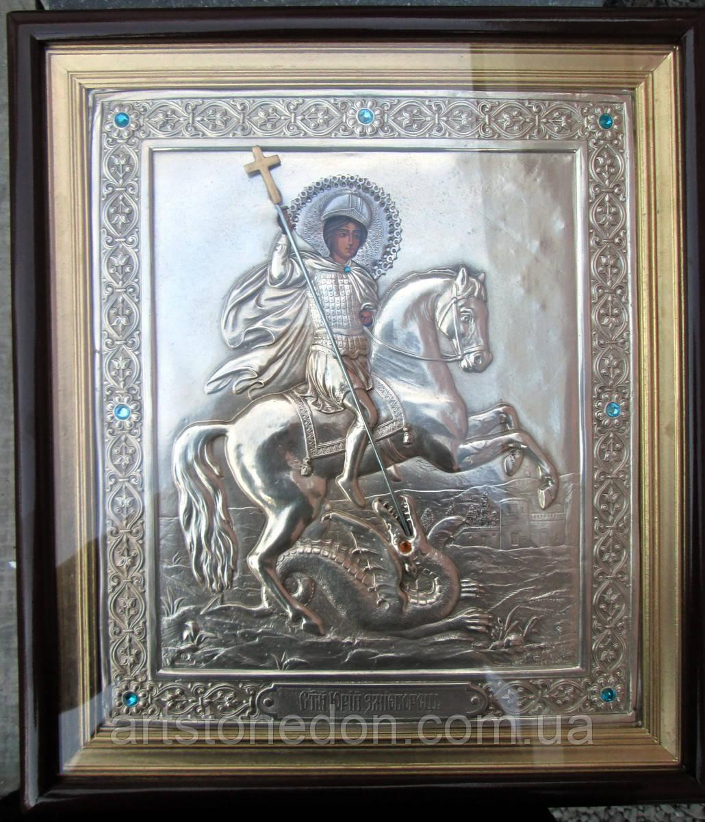 Икона в серебряном окладе Георгий Победоносец (Юрий Змееборец)