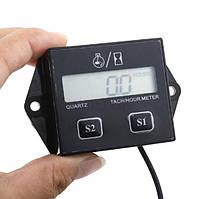 Счётчик моточасов / тахометр жк-дисплей, 2 или 4 тактного двигателя (мотокросс, atv, питбайк) черный