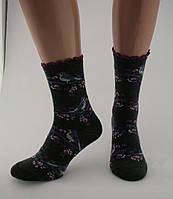 Носки женские разноцветные хлопок черные с птицами на ветке Ж-900016