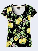 Замечательная женская футболка с ярким принтом цветущих лимонов XS