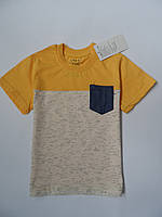 Футболка для мальчиков, 116-128, желтая с карманом