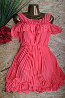 Платье Плиссе 805 корал 42-46р