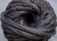 Толстая пряжа ручного прядения 100% шерсть, серо-коричневый меланж №52