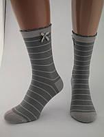 Носки женские разноцветные хлопок серые в светло-серую полоску с бантиком Ж-900018