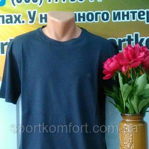 Футболка турецкая хлопковая без рисунка, синяя, размеры 52 54 56 58 60