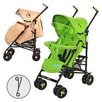 Коляска детская 1109-5-13 (2шт) прогулочная,чехол на ножки,кол 8шт(15см),корз,беж/зелен,108-88-49см