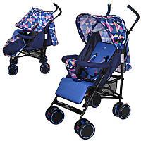 Коляска детская M 3425-4 (2шт) прогулочн,трость,колеса4шт,рег.спинка,5-ти точ.ремень,синий